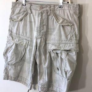 Tan ripstop camo cargo shorts
